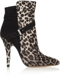 Tabitha Simmons Hunter Leopardprint Calf Hair and Suede Ankle Boots - Lyst