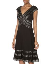 Tadashi Metallic Ribbon Crisscross Vneck Dress Blacksilver Small - Lyst