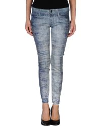 Mother Blue Denim Pants - Lyst