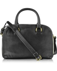 Sonia Rykiel Lucien Black Striped Leather Small Boston Bag - Lyst