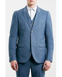 Topman Blue Skinny Fit Suit Jacket - Lyst