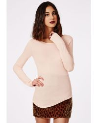 Missguided Long Sleeve Jersey Scoop Back Top Nude - Lyst