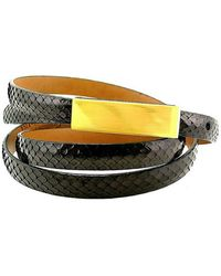 Leighelena - Double Black Anaconda Licorice Belt - Lyst