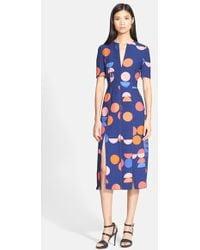 Victoria, Victoria Beckham Print Crepe Midi Dress - Lyst