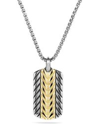 David Yurman Modern Chevron Tag Necklace with Gold - Lyst