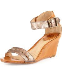 Frye Carol Leather Wedge Sandal - Lyst