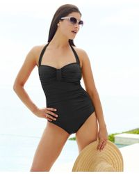 Tommy Bahama Ruched Halter One-Piece Swimsuit - Lyst