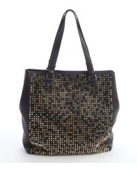 Christian Louboutin Black Studded Leather Panettone Shopping Tote - Lyst