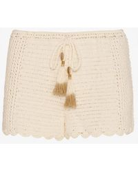 She Made Me - Tassel Tie Crochet Shorts: Ivory - Lyst