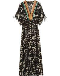Vineet Bahl - Embellished Printed Chiffon Maxi Dress - Lyst