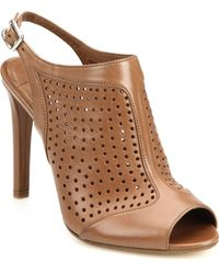 Prada Perforated Leather Bootie Sandals - Lyst