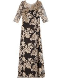 Notte by Marchesa Gold Embroidered Gown - Lyst