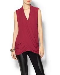 BCBGMAXAZRIA Doris Sleeveless Wrap Top - Lyst