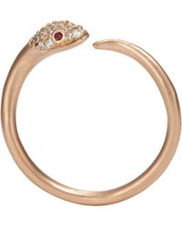 Tate - Diamond, Ruby & Pink Gold Snake Ring - Lyst