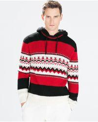 Zara Hooded Chunky Intarsia Sweater - Lyst