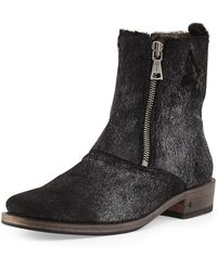 John Varvatos - Doubl-Zip Pony Hair Boot - Lyst