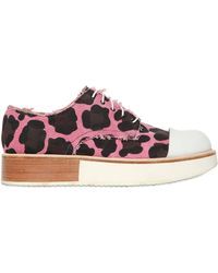 Mobi - 30mm Canvas Cow Print Lace-up Shoes - Lyst