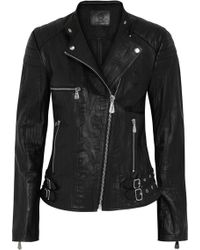 McQ by Alexander McQueen Crinkled-leather Biker Jacket - Lyst