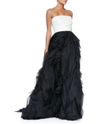 Monique Lhuillier Strapless Colorblock Raw-Edge Organza Gown white - Lyst