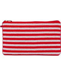 Akira Black Label - Striped Red White Seed Bead Clutch - Lyst