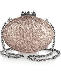 Christian Louboutin Mina Swarovski Crystalembellished Metallic Nubuck Clutch - Lyst