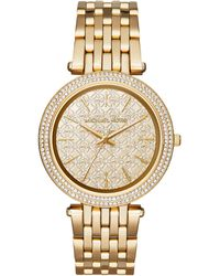 Michael Kors Darci Glitz Goldtone Stainless Steel Monogram Bracelet Watch gold - Lyst