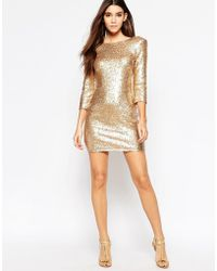 TFNC | Allover Sequin Mini Dress With Deep Back And 3/4 Sleeve | Lyst