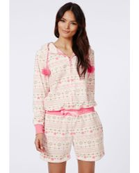 Missguided Cindy Short Fleece Onesie Cream - Lyst
