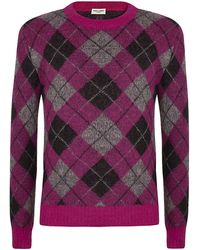 Saint Laurent Mohair Argyle Jumper - Lyst