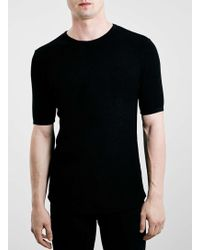 Topman Black Textured Knitted T-Shirt - Lyst