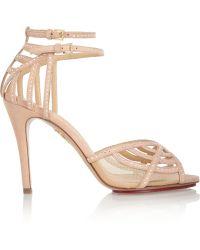 Charlotte Olympia Octavia Swarovski Crystal-Embellished Suede Sandals - Lyst