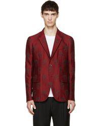 Alexander McQueen Red Skull Jacquard Blazer red - Lyst