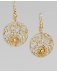 Roberto Coin Mauresque Diamond & 18K Yellow Gold Circle Swirl Earrings - Lyst
