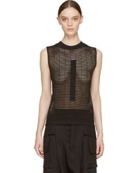 Rick Owens Black Sheer Stripe Knit Top - Lyst