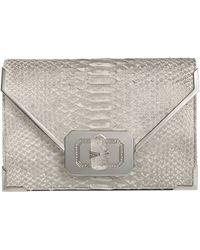 Marchesa Valentina Python Envelope Clutch Bag Silver - Lyst