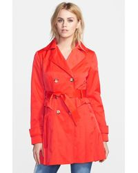 Guess Double-Breasted Skirted Trench Coat - Lyst