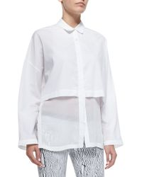 Helmut Lang Layered Long-Sleeve Cotton Blouse - Lyst