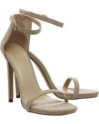 Office Parallel Square Toe Strap Sandal beige - Lyst