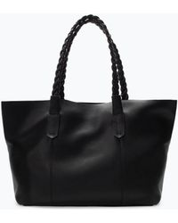 Zara Black Leather Shopper - Lyst