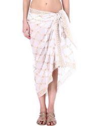 Juliet Dunn Embellished Cotton Sarong Whitegold - Lyst