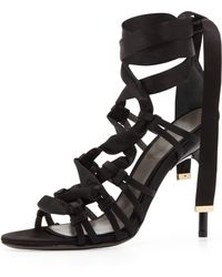 Jason Wu Satin Strappy Sandal Black - Lyst
