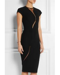 Victoria Beckham Tulle-paneled Silk and Wool-blend Dress - Lyst