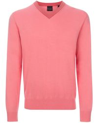 Paul Smith | Men's Pink V-neck Cotton Sweater With Striped Collar | Lyst