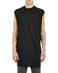DRKSHDW by Rick Owens Jersey Drapefront Tshirt - Lyst