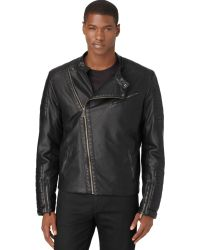 Calvin Klein Black Fauxleather Bikers Motorcycle Jacket - Lyst