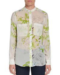 BCBGMAXAZRIA Floralprint Silk Blouse - Lyst