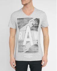G-Star RAW | Grey Jozia Print V-neck T-shirt | Lyst