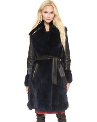 Moschino Cheap and Chic Fur Coat Black - Lyst
