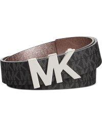 Michael Kors Michael Signature Belt With Mk Plaque - Lyst