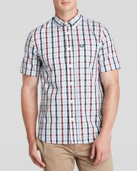 Fred Perry Harringbone Check Woven Button Down Shirt - Regular Fit - Lyst